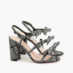 J. Crew Stella Glen plaid chunky heel bow sandal